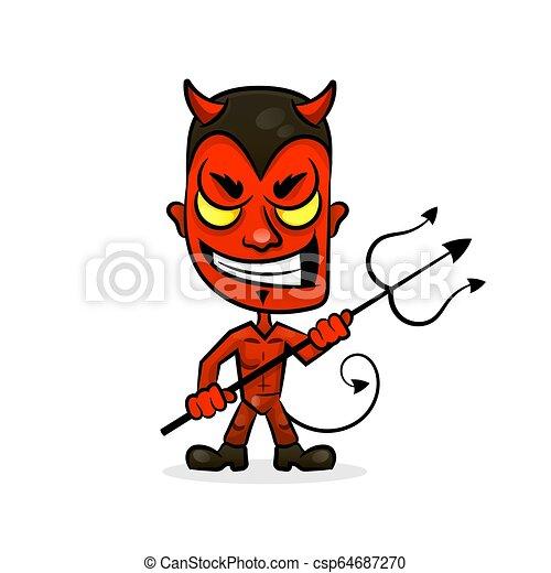 悪魔, 特徴, 悪, スポーツ, 顔, 漫画, にやにや笑い, マスコット - csp64687270