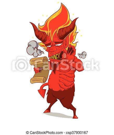 悪魔, 特徴, 赤, vector., モンスター - csp37930167