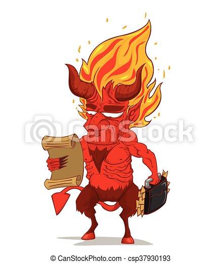 悪魔, 特徴, 赤, vector., モンスター - csp37930193