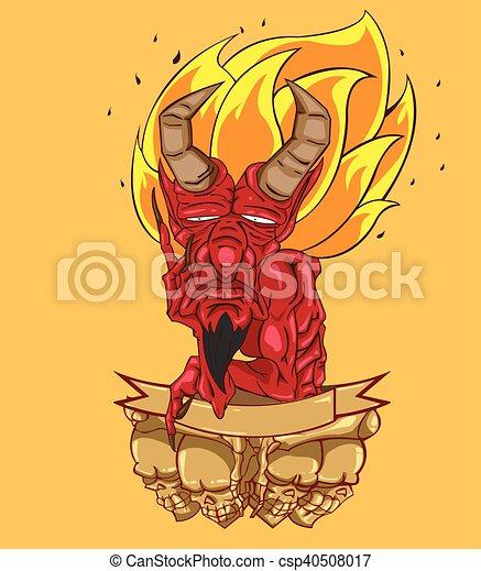悪魔, 頭, ベクトル, 赤 - csp40508017
