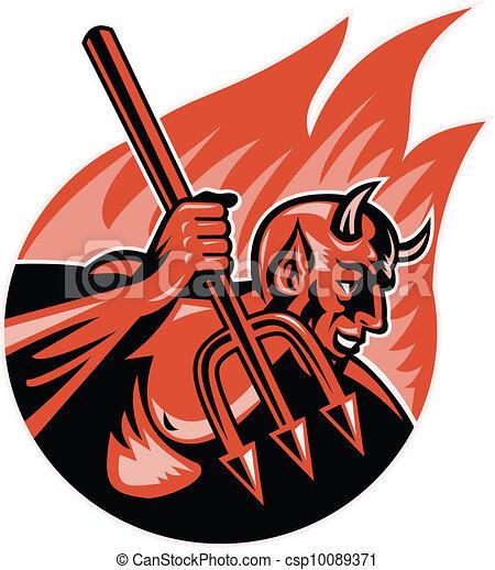 悪魔, trident, 悪魔, 干し草用フォーク - csp10089371