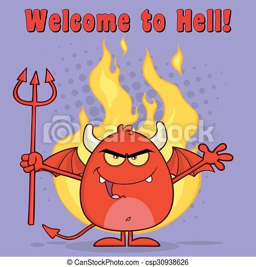 悪, 上に, 悪魔, 赤, 炎 - csp30938626
