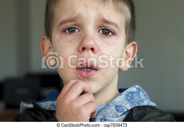 悲しい, 叫ぶこと, 子供 - csp7639473