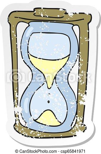 悲嘆させられた, ステッカー, 砂時計, レトロ, 漫画 - csp65841971