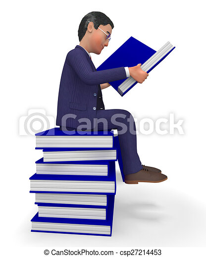 情報, 商業, 教科書, 本, ビジネスマン, 読書, ショー - csp27214453