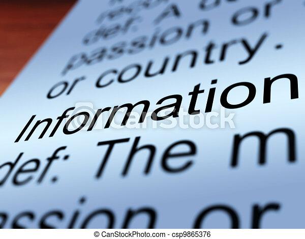 情報, 提示, クローズアップ, 知識, 定義 - csp9865376
