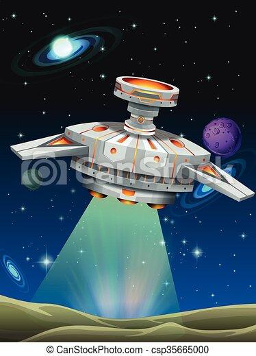 惑星 出発 宇宙船 イラスト