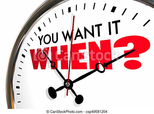 想要, 鐘, 問題, 當時, 它, 插圖, 最終期限, 被套料, 手, 你, 3d - csp49581204