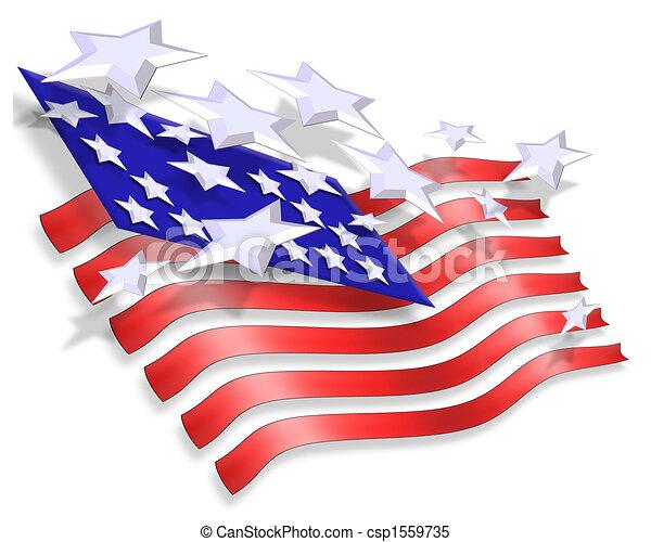 愛国心が強い, 星, 背景, ストライプ - csp1559735