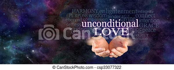 愛, 単語, unconditional, 雲 - csp33077322