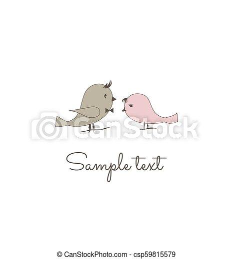 愛, 挨拶, 2, wedding., 招待, 鳥, カード - csp59815579