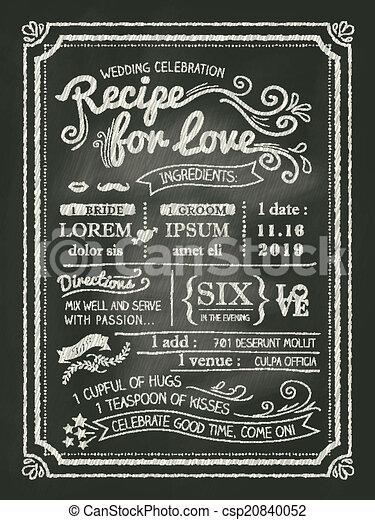 愛, 結婚式, レシピ, 黒板, 招待, カード - csp20840052