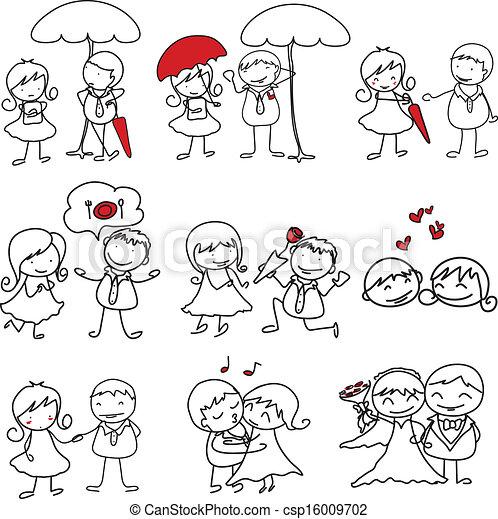 愛, hand-drawn, 特徴, 漫画 - csp16009702