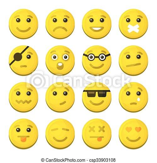 感情, アイコン, set., 黄色, ベクトル, 微笑 - csp33903108