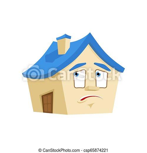 感情, 損失, 当惑させている, 建物, isolated., 家, パニックに陥る, ベクトル, 家, 漫画, style. - csp65874221