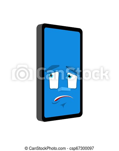 感情, 損失, smartphone, isolated., 小道具, パニックに陥る, 電話, ベクトル, 当惑させている, 漫画, style. - csp67300097