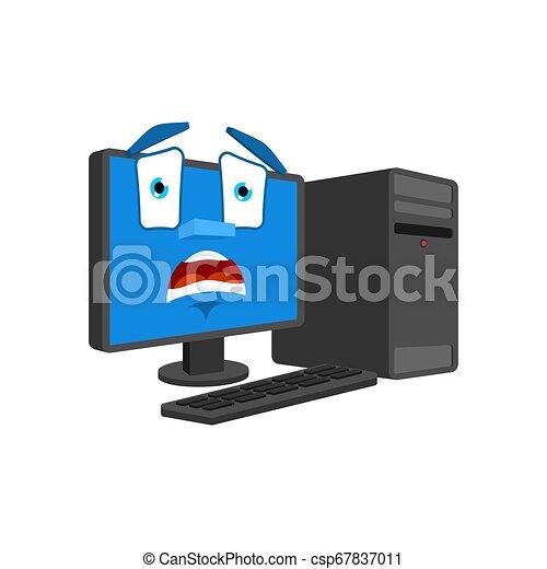 感情, omg, panicked., isolated., データ, scared., イラスト, pc, ベクトル, 恐れ, コンピュータ, プロセッサ - csp67837011