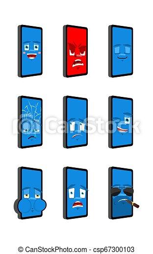 感情, smartphone, emoji., emotion., まばたき, 小道具, 悪, 睡眠, avatar., 電話, セット, 当惑させている, 深刻, 恐れ, 悲しい, icon., 幸せ - csp67300103