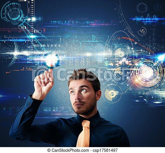 感触, インターフェイス, スクリーン, 未来派 - csp17581497