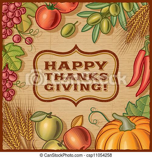 感謝祭, カード, レトロ - csp11054258