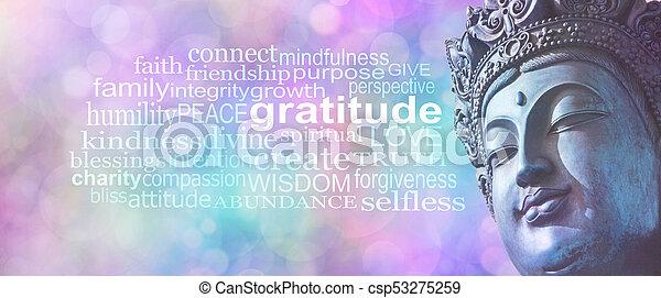 感謝, 単語, 仏教, 旗, 雲 - csp53275259