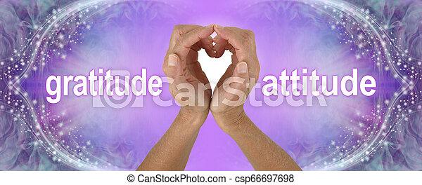 感謝, 心, 紫色, 態度, 手, 旗 - csp66697698