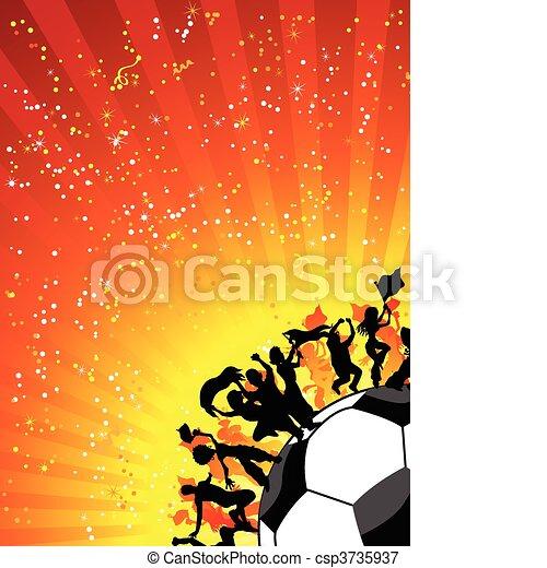慶祝, 巨大, 足球, 人群, game. - csp3735937