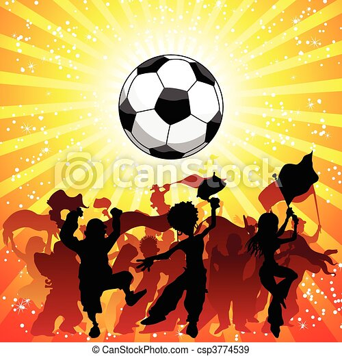 慶祝, 巨大, 足球, 人群, game. - csp3774539