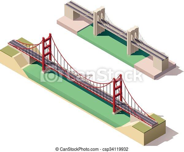 懸濁液, 等大, ベクトル, 橋 - csp34119932