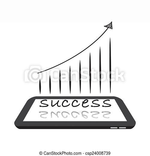 成功, タブレット, デジタル - csp24008739
