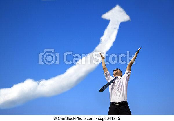 成功, 事務, 圖表, 生長, 商人, 雲 - csp8641245
