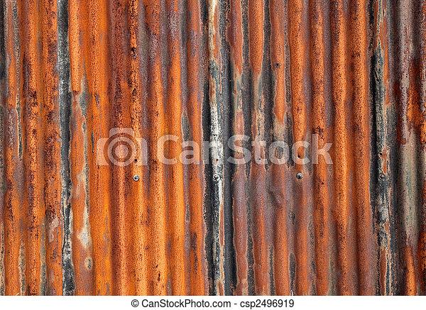 成為波形弄皺, 向上。, 老, 柵欄, 生鏽, 鐵, 關閉 - csp2496919
