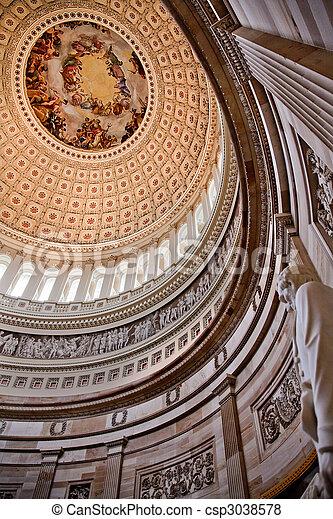 我們, burundi, apothesis, 華盛頓;喬治, 繪, dc, 雕像, 林肯, 州議會大廈, 裡面, 圓形建築, 圓屋頂, 1865, constantino - csp3038578