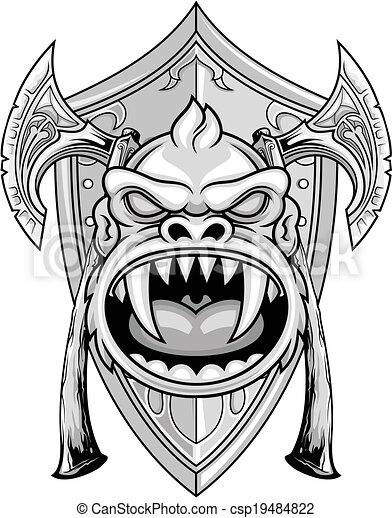 戦士 サル 頭 サル 斧 イラスト ベクトル 保護