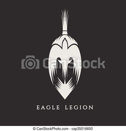 戦士, 頭, ワシ, spartan, イラスト, ベクトル - csp35016650