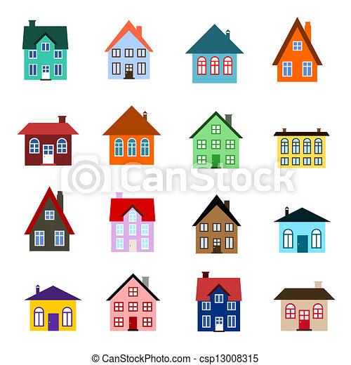 房子, 卡通漫画, 图标 - csp13008315