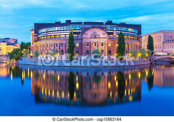 房子, 斯德哥爾摩, 議會, 瑞典 - csp15863164