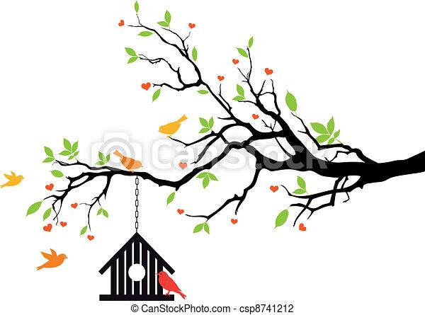房子, 春天, 矢量, 鸟, 树 - csp8741212