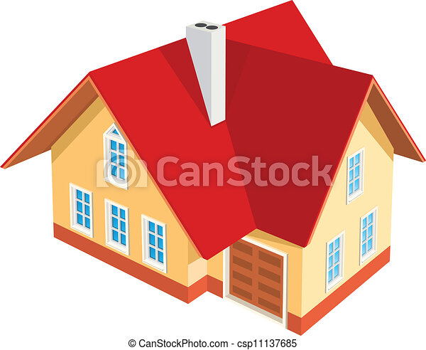 房子, 白的背景, 描述 - csp11137685