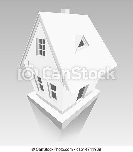 房子, 纸, 背景, 灰色, 做 - csp14741989