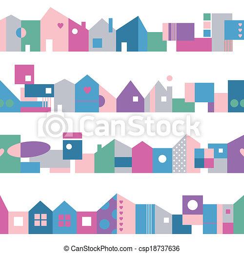 房子, 色彩丰富, 模式 - csp18737636