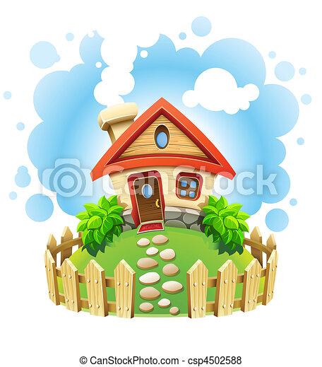 房子, 草坪, 仙女故事, 柵欄 - csp4502588
