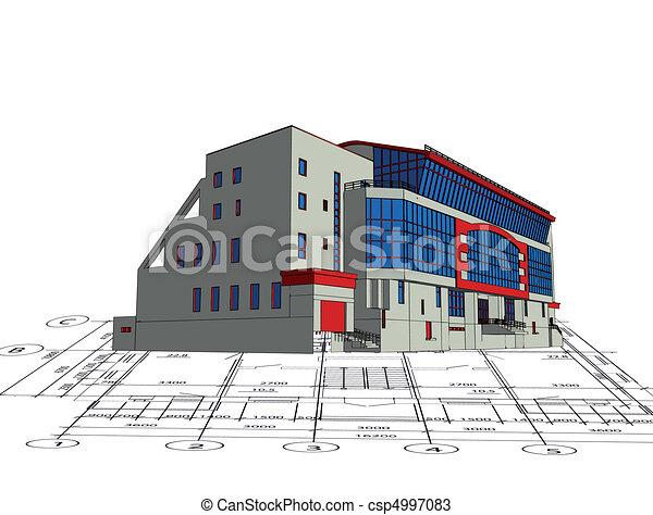 房子, 蓝图, 模型, 顶端, 建筑学 - csp4997083