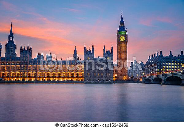 房子, 議會, 倫敦, 夜晚 - csp15342459