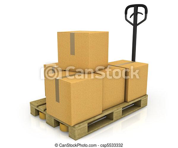 扁平工具, 箱子, 紙盒, 卡車, 堆 - csp5533332