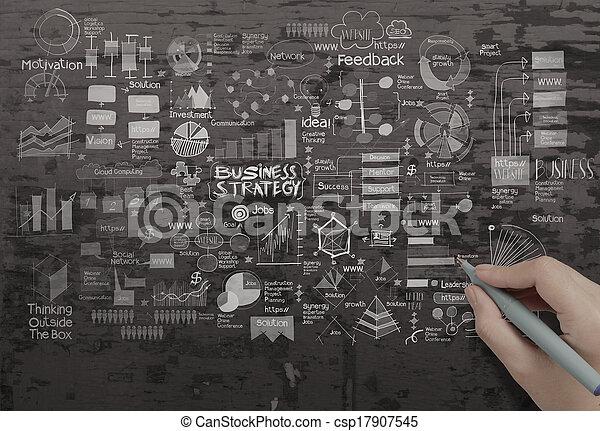 手ざわり, ビジネス, 図画, 背景, 作戦, 創造的, 手 - csp17907545
