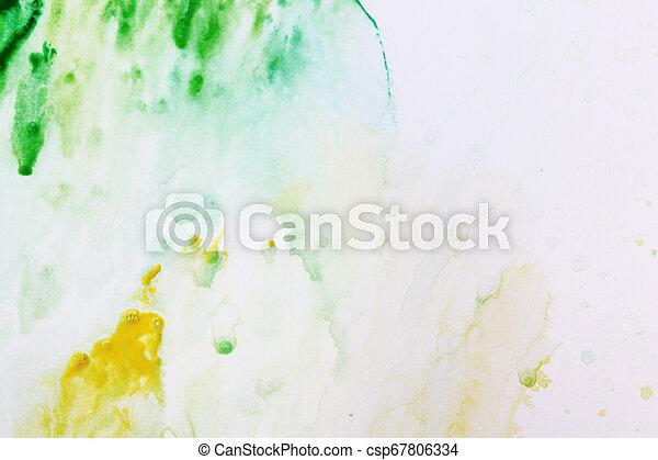 手ざわり, 水彩画, 現実的, ペーパー, 緑, 黄色の背景, 白 - csp67806334