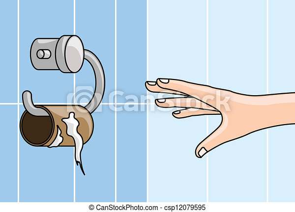 手を伸ばす, ペーパー, 空, -, トイレ, 手 - csp12079595