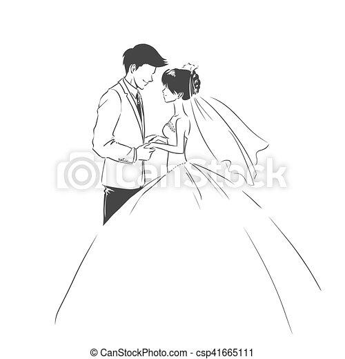 手入れをしなさい。, type., 結婚式, スケッチ, 花嫁, 招待, カード - csp41665111