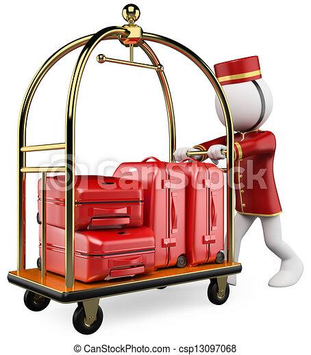 手荷物, 人々。, ホテル, カート, 白, 3d - csp13097068